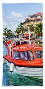 Orange Lifeboats Across Colorful Bay Bath Towel