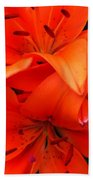 Orange Lily Closeup Digital Painting Bath Towel