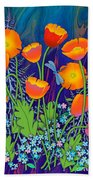 Orange Poppies And Forget Me Nots Bath Towel