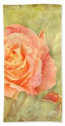 Orange Rose With Old Paint Texture Background Bath Towel