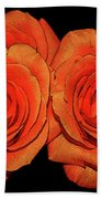 Orange Roses With Hot Wax Effects Bath Towel