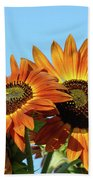 Orange Sunflowers Summer Blue Sky Art Prints Baslee Bath Towel