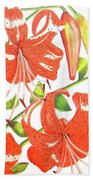 Orange Tiger Lilies Bath Towel