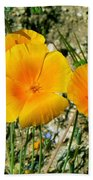 Orange Wildflowers Bath Towel
