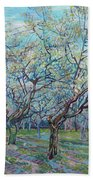 Orchard With Blossoming Plum Trees   Bath Towel