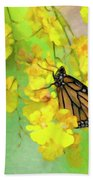 Orchids And Butterfly Painting Bath Towel