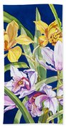 Orchids In Blue Hand Towel