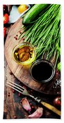 Organic Vegetables And Spices Bath Towel