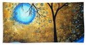 Orginal Abstract Landscape Painting Blue Fire By Madart Bath Towel