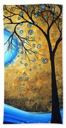 Orginal Abstract Landscape Painting Blue Fire By Madart Bath Towel