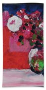 Original Floral Painting By Elaine Elliott, 12x12 Acrylic And Collage, 59.00 Incl. Shipping, Contemp Bath Towel