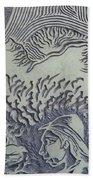 Original Linoleum Block Print Bath Towel