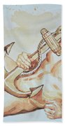 Original Watercolor Painting Artwork Sailor Male Nude Man Gay Interest On Paper #9-015 Bath Towel