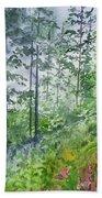 Original Watercolor - Summer Pine Forest Hand Towel