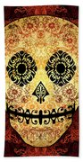 Ornate Floral Sugar Skull Hand Towel