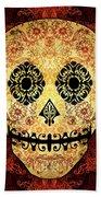 Ornate Floral Sugar Skull Bath Towel