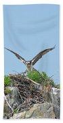 Osprey Landing On A Nest Bath Towel