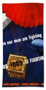 Our Food Is Fighting - Ww2 Bath Towel