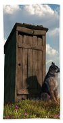 Outhouse Guardian - German Shepherd Version Bath Towel