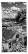 Over The Rooftops At Portree In Greyscale 2 Bath Towel