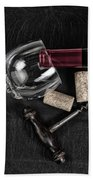 Overhead View Of Vintage Corkscrew With Red Wine Bottle And Glas Bath Towel