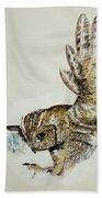 Owl In Flight Bath Towel
