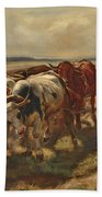Oxen Plowing Bath Towel