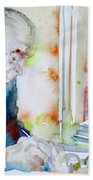 Pablo Neruda - Watercolor Portrait.8 Bath Towel
