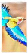 Painted Birds In Skyline Bath Towel