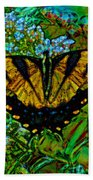 Painted Yellow Swallowtail Bath Towel