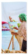 Painter At Work, Holetown Beach, Barbados Bath Towel
