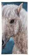 Painting Of A Brindle Horse With White Coat Hand Towel