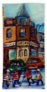 Paintings Of Montreal Hockey On Fairmount Street Hand Towel