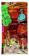 Paintings Of Montreal Streets Old Montreal With Flower Cart And Caleche By Artist Carole Spandau Bath Towel