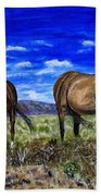 Pair Of Horses Painting Hand Towel