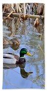 Pair Of Mallard Ducks Bath Towel