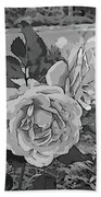 Pair Of Roses In Grayscale Bath Towel