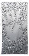 Palm Print On Wet Metal Surface Bath Towel