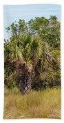 Palm Tree In Golden Grass Bath Towel