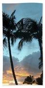 Palm Trees At Sunset Bath Towel