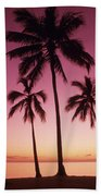 Palms Against Pink Sunset Bath Towel