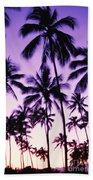 Palms And Purple Sky Bath Towel