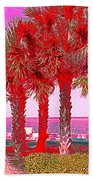 Palms In Red Bath Towel