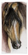 Palomino Arabian Horse Watercolor Portrait Bath Towel
