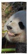Panda Bear Showing His Teeth As He Munches On Bamboo Bath Towel