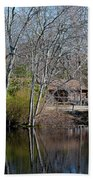 Panorama Of Lake, Trees And Cabin Bath Towel