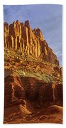 Panorama The Castle On A Cloudy Morning Capitol Reef National Park Bath Towel