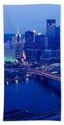 Panoramic Evening View Of Pittsburgh Bath Towel
