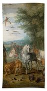 Paradise Landscape With Animals Bath Towel