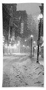 Paramount Snowstorm Boston Ma Washington Street Black And White Bath Towel